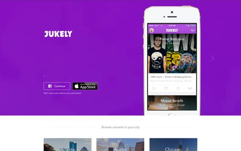 Screenshot of Home Page jukely.com - Jukely - captured Sept. 13, 2014