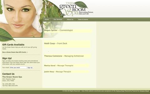 Screenshot of About Page greenroomspa.com - Our Staff - captured June 18, 2016