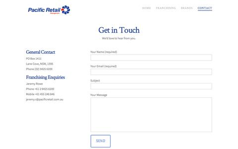 Screenshot of Contact Page pacificretail.com.au - Contact - Pacific Retail Management - captured July 7, 2017
