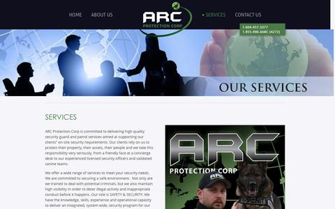 Screenshot of Services Page arc-corp.ca - Security Guard, Security Patrol & K9 Services Company in BC & Alberta - captured Feb. 5, 2016
