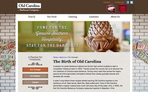 Screenshot of About Page oldcarolina.com - Old Carolina Barbecue Company Restaurant Concept - captured Oct. 9, 2014