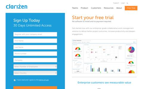 Screenshot of Trial Page clarizen.com - Online Project Management Access Free for 30 Days | Clarizen - captured Sept. 7, 2017