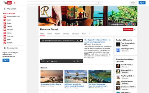 Screenshot of YouTube Page youtube.com - Renshaw Travel  - YouTube - captured Nov. 3, 2014