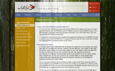 Screenshot of Terms Page wildlifeacoustics.com - Wildlife Acoustics - Website Terms of Use - captured Oct. 26, 2014