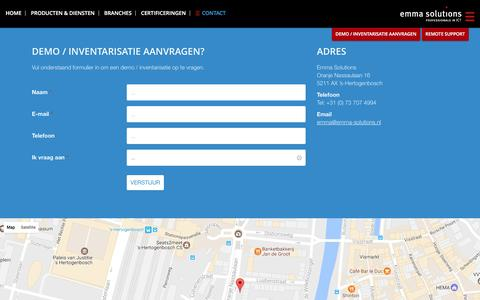 Screenshot of Contact Page emma-solutions.nl - Contact - Emma Solutions - captured April 30, 2017