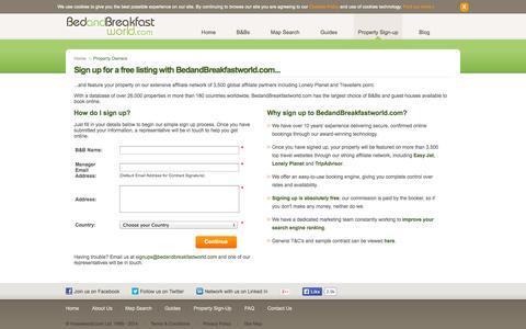 Screenshot of Signup Page bedandbreakfastworld.com captured Sept. 19, 2014