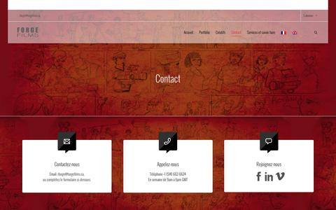 Screenshot of Contact Page forgefilms.ca - Contact - captured Jan. 8, 2016