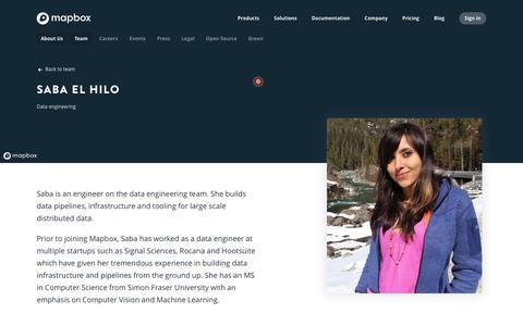 Screenshot of Team Page mapbox.com - Saba El-Hilo   Mapbox - captured Feb. 19, 2019