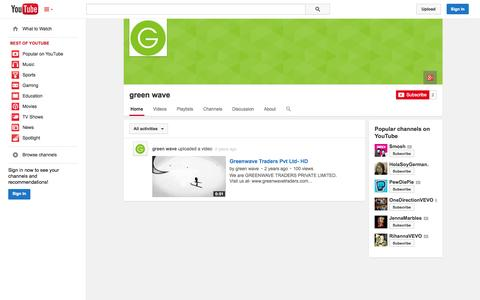 Screenshot of YouTube Page youtube.com - green wave  - YouTube - captured Oct. 27, 2014