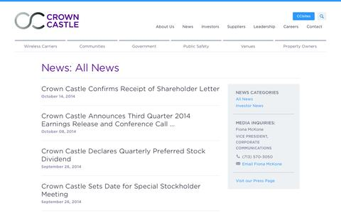 Screenshot of Press Page crowncastle.com - Crown Castle: News - captured Oct. 28, 2014