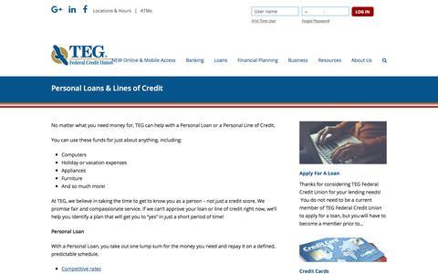Screenshot of tegfcu.com - Personal Loans & Lines of Credit – TEG Federal Credit Union - captured Dec. 2, 2017
