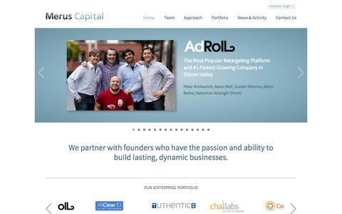 Screenshot of Home Page meruscap.com - Home » Merus Capital - captured Oct. 6, 2014