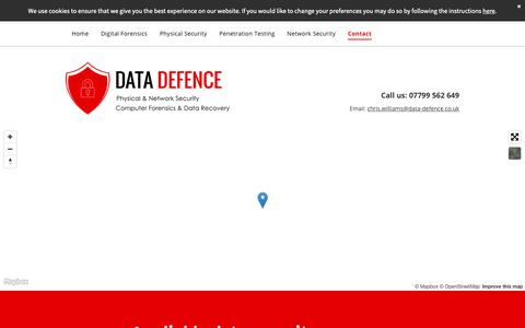 Screenshot of Contact Page data-defence.co.uk - Data security with Data-Defence.co.uk - captured Oct. 9, 2018