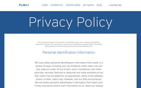 Screenshot of Privacy Page flikli.com - FLIKLI - A Visual Agency. - captured Oct. 27, 2014