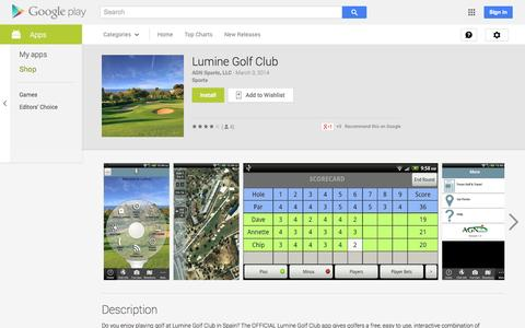 Screenshot of Android App Page google.com - Lumine Golf Club - Android Apps on Google Play - captured Oct. 22, 2014