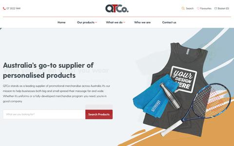 Screenshot of Home Page qtco.com.au - Promotional Products Brisbane – Bags, Gifts, Items & Clothing – QTCo - captured Aug. 18, 2019