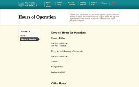 Screenshot of Hours Page missionofdeeds.org - Hours of Operation - Mission of Deeds - captured Oct. 26, 2014