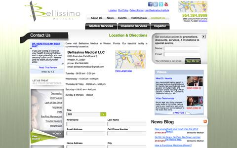 Screenshot of Contact Page Hours Page bellissimomedical.com - Contact Us - captured Oct. 23, 2014