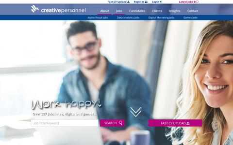 Screenshot of Jobs Page creativepersonnel.co.uk - Specialisms - Creative Personnel - captured Nov. 5, 2018