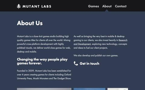 Screenshot of About Page mutantlabs.com - About - Mutant Labs - captured Oct. 9, 2014