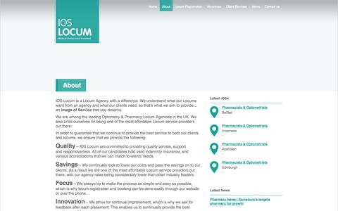 Screenshot of About Page ioslocum.com - IOS Locum | Optometry | Pharmacy Locum Agency - captured Sept. 30, 2014