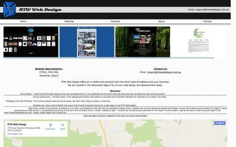 Screenshot of Home Page rtwwebdesign.com.au - RTW Web Design - captured Jan. 11, 2016
