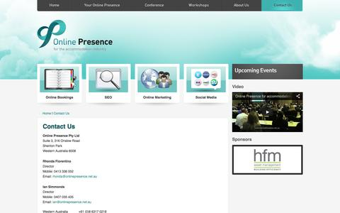 Screenshot of Contact Page onlinepresence.net.au - Contact Us - Online Presence - captured Oct. 9, 2014