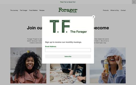 Screenshot of Jobs Page foragerproject.com - Careers — Forager Project - captured Aug. 19, 2018