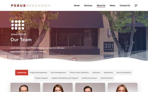 Screenshot of Team Page pegus.com - The Team | PEGUS - captured Sept. 25, 2018