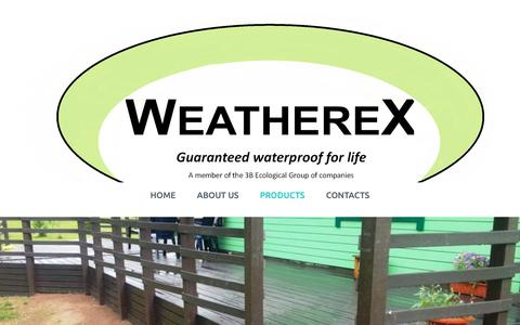 Screenshot of Products Page weatherex.yolasite.com - Weatherex - captured Sept. 28, 2018