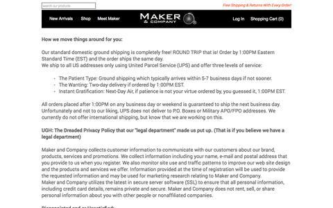 Screenshot of Privacy Page makerandcompany.com - Customer Service | Contact Us | Maker & Company - captured Oct. 29, 2014