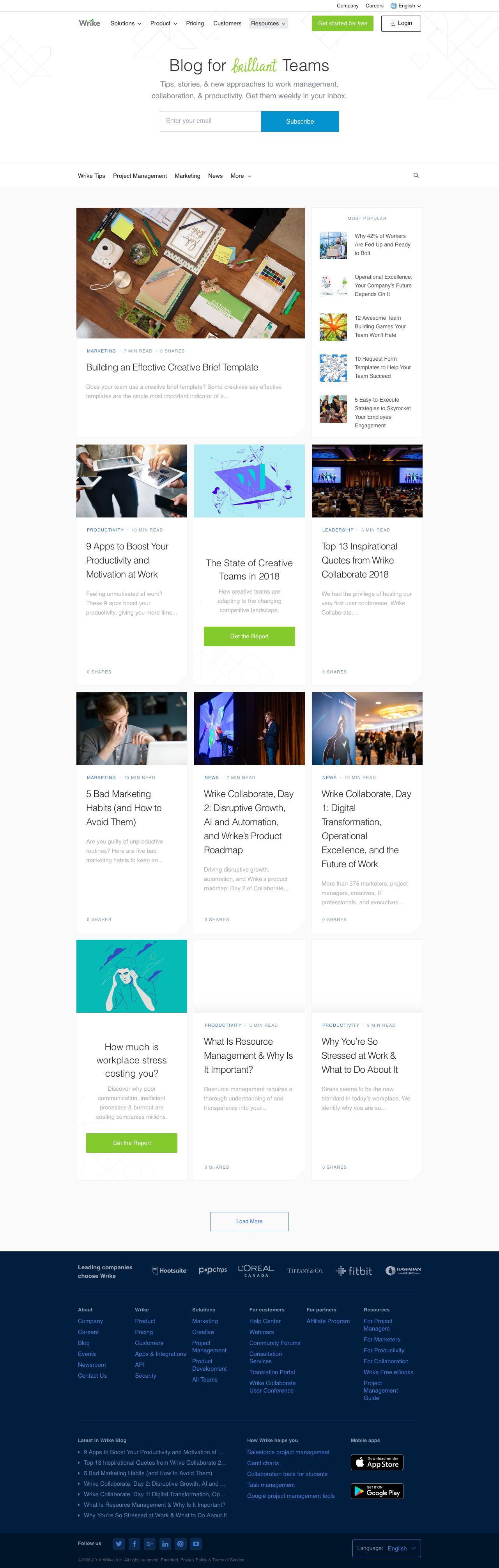 Screenshot of wrike.com - Wrike Blog - captured Oct. 15, 2018