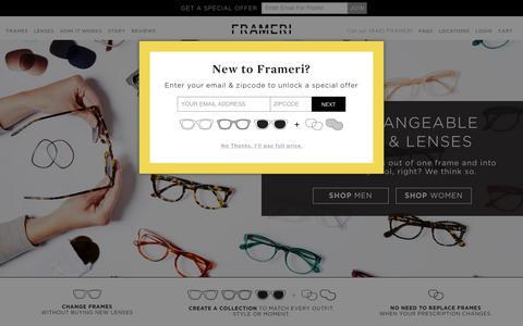Screenshot of Home Page frameri.com - Online Eyeglasses & Sunglasses   Frameri Eyewear - captured Nov. 20, 2016