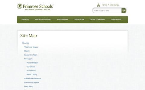 Screenshot of Site Map Page primroseschools.com - Site Map | Primrose Schools - captured Oct. 10, 2014