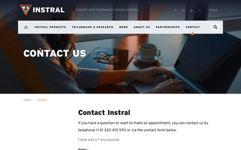 Screenshot of Contact Page instral.com - Contact details INSTRAL - captured Sept. 25, 2018