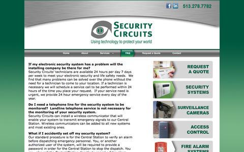 Screenshot of FAQ Page security-circuits.com - FAQ   Security Circuits - captured July 6, 2016