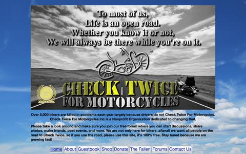 Screenshot of Home Page checktwiceformotorcycles.com - CheckTwiceForMotorcycles.com - captured June 19, 2015