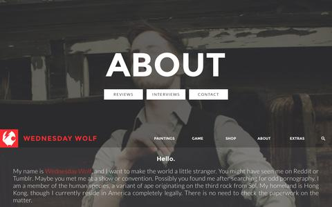 Screenshot of About Page wednesdaywolf.com - Wednesday Wolf - captured Aug. 14, 2015