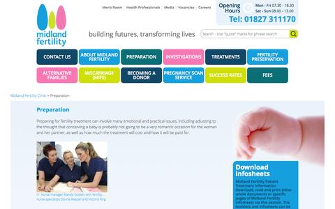 Screenshot of FAQ Page midlandfertility.com - Preparation - captured Oct. 29, 2014