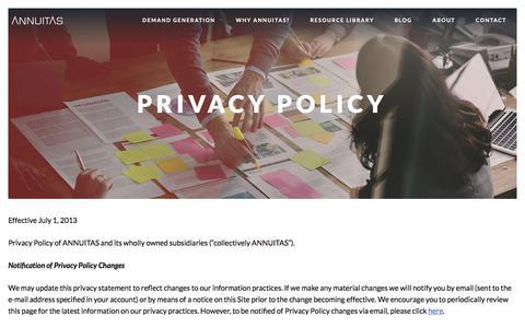 Screenshot of Privacy Page annuitas.com - Privacy Policy - Annuitas - captured April 26, 2018