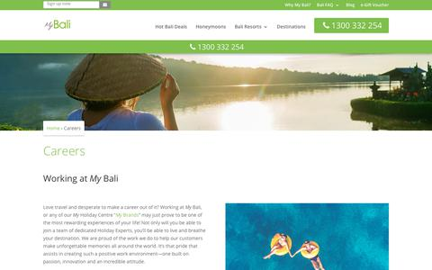 Screenshot of Jobs Page mybali.com.au - Careers at My Bali   Bali Holiday Package Deals - captured Sept. 21, 2018