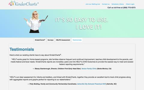 Screenshot of Testimonials Page kindercharts.net - Testimonials, KinderCharts Management Reporting System - captured Oct. 27, 2014