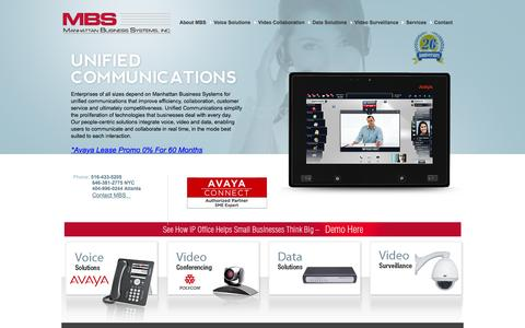 Screenshot of Home Page mbsnetworks.com - Avaya Ip Office in New York IP Office Installation and IP Office service in New York and Atlanta Metro Areas. telephone systems - captured Feb. 4, 2016