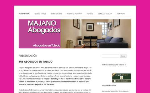 Screenshot of Home Page majanoabogados.com - Majano Abogados en Toledo - captured Sept. 30, 2014