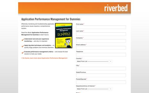 Screenshot of Landing Page riverbed.com - Contact Riverbed | Application Performance Management for Dummies | Riverbed - captured Oct. 27, 2014
