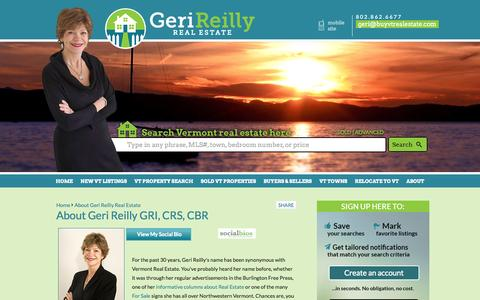 Screenshot of About Page buyvtrealestate.com - Burlington Vermont Realtor  | About Geri Reilly - captured Oct. 2, 2014