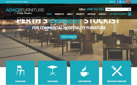 Screenshot of Home Page adagefurniture.com.au - Commercial Furniture Perth, Cafe & Restaurant Furniture Perth - Call 1800 683 477 - Adage Furniture - captured Dec. 23, 2015