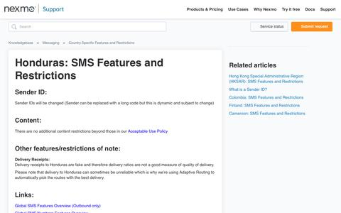 Honduras: SMS Features and Restrictions – Knowledgebase