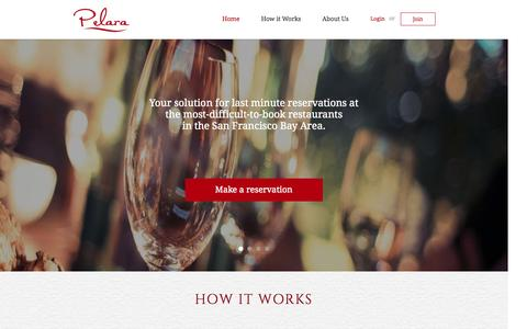 Screenshot of Home Page About Page Privacy Page Signup Page Support Page Login Page Terms Page pelara.com - Pelara - your restaurant reservation concierge - captured Sept. 29, 2014