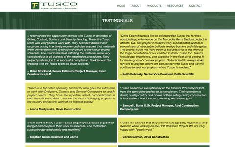 Screenshot of Testimonials Page tuscoinc.com - Testimonials | Tusco, Inc. - captured Sept. 21, 2018
